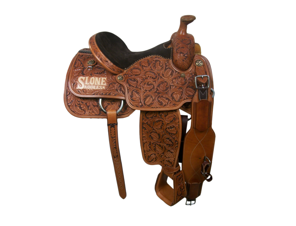 Saddle Details:  Traditional Patterns with Leg Cut.  Full Triple Oak with Brown Dyed Background.  Chocolate Suede Seat - Hand Stitched.  Hoof Pick Pocket.  Rawhide Horn Edge.  Tooled Stirrups.  Rust Conchos.