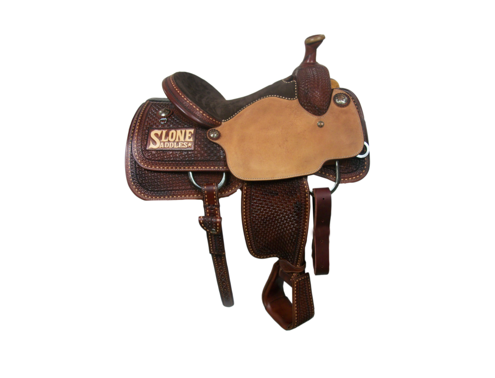Saddle Details:   Traditional Patters with Leg Cut.  Chestnut Leather Upgrade.  Rough Out Seats.  7/8 Spider.  7/8 Serpentine Border.  7/8 Light Buck Stitch Border.  Chocolate Suede Seat.  Hand Stitched Seat.  Latigo and Billets.  Rust Conchos.