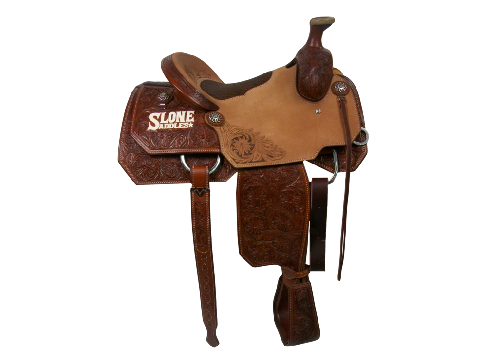 Saddle Details:  Angle Cut Skirts with Cutaway.  Chestnut Leather Upgrade with Golden Rough Out Seats.  7/8 Sunshine Daisy with Panel in Back Corner of Seat Jockey and Dish of Cantle.  Bark Elephant Pillow Seat.  Overshoe Tooled Stirrups to Match.  Rust Conchos.  Latigo Tie Straps with Billets.