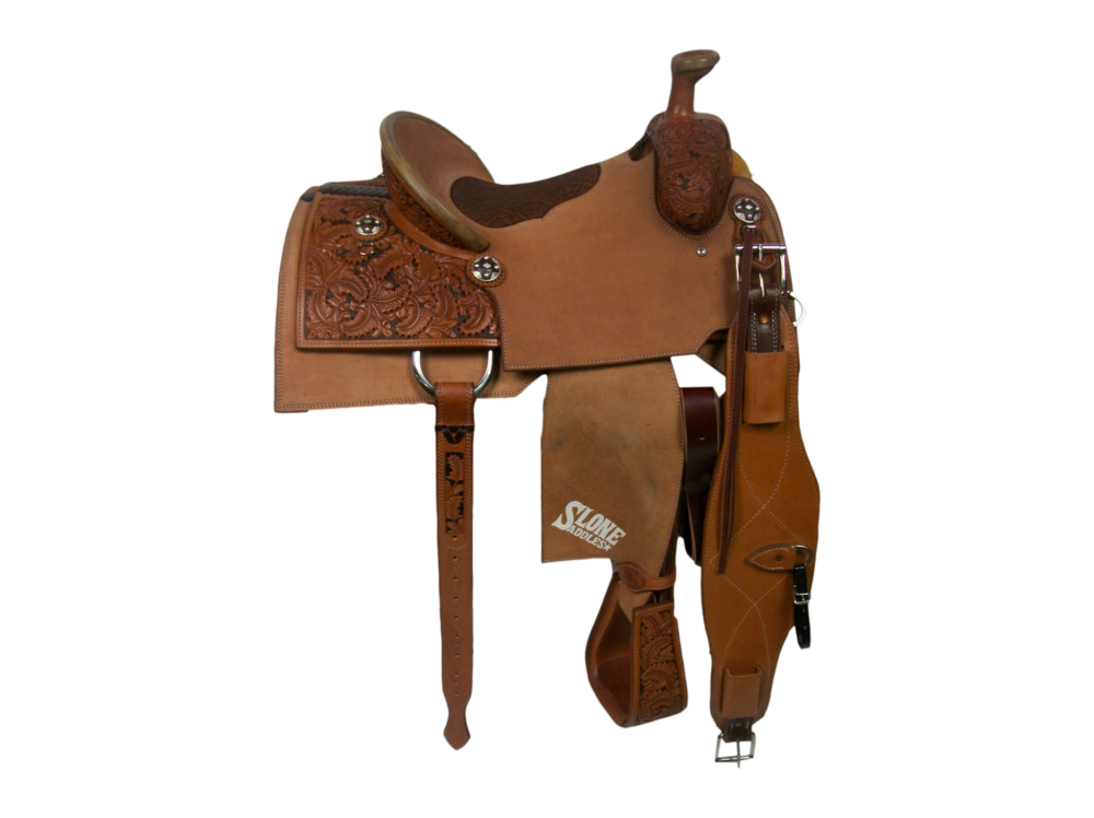Saddle Details:   Square Cut Patterns.  1/2 Small DJ Oak with Brown Dyed Background.  Pencil Roll Binder.  Rough Out Seats, Skirts, Fenders.  Bark Elephant Pillow Seat.  Rawhide Horn Edge.  Latigo Straps with Billet in Back.  Tooled Stirrups.  Rust Conchos.