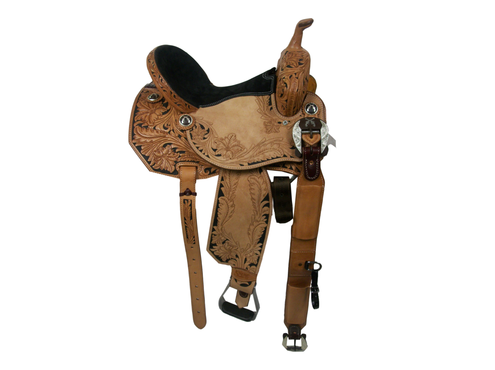 Saddle Details: Angle Cut Patterns. 3/4 Seed Floral #1 with Black Dyed Background. Seed Floral #1 Border in Rough Out Seats and Fenders with Black Dyed Background. Black Suede Seat. Nylon Tie Straps. Aluminum Slanted Barrel Stirrups. Rust Conchos. Rust Flank Buckles.