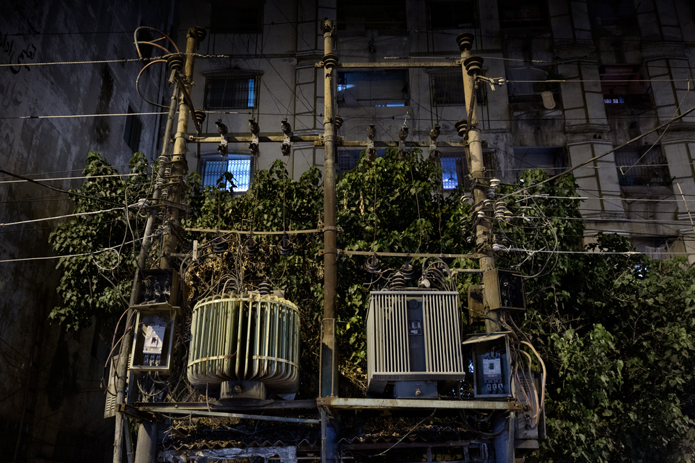 An electricity transformer on the street in Lyari Town, Karachi, Pakistan.