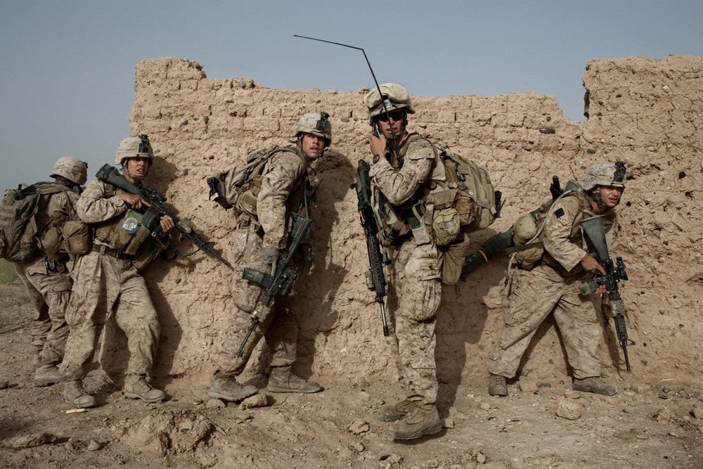 U.S. Marines come under attack while on patrol as part of a joint operation with British forces in Marja District, Helmand Province, Afghanistan.