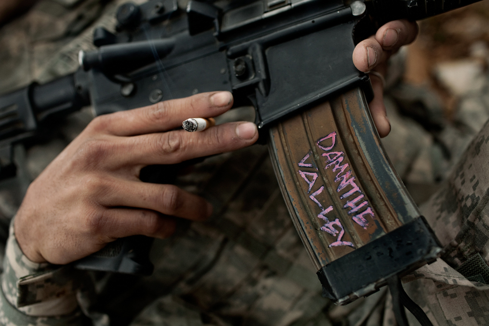 Decorated clip on a U.S. Army M4 gun at the Korengal Outpost, Kunar Province, Afghanistan.