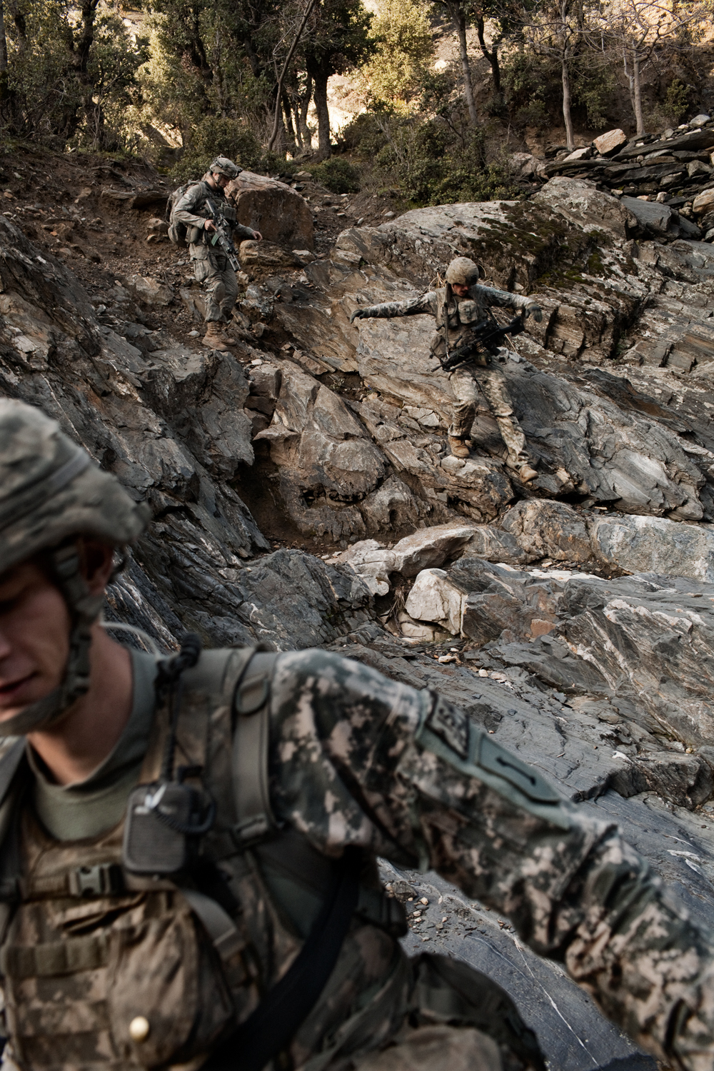 U.S. Army soldiers patrol in the Korengal Valley, Kunar Province, Afghanistan.