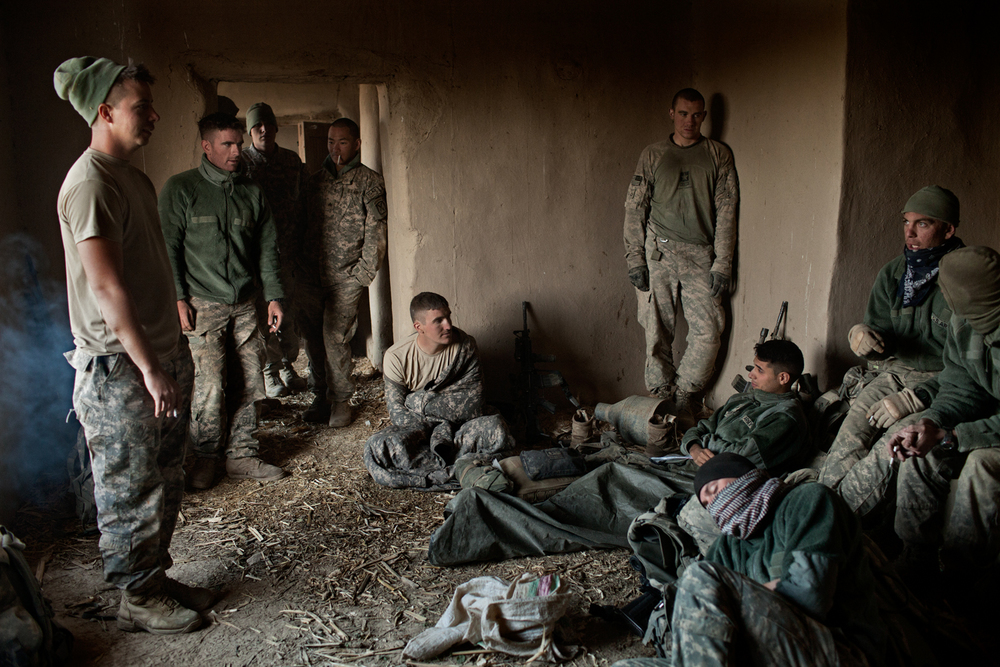 U.S. Army soldiers occupy an abandoned house during an operation in the Tangi Valley, Wardak Province, Afghanistan.