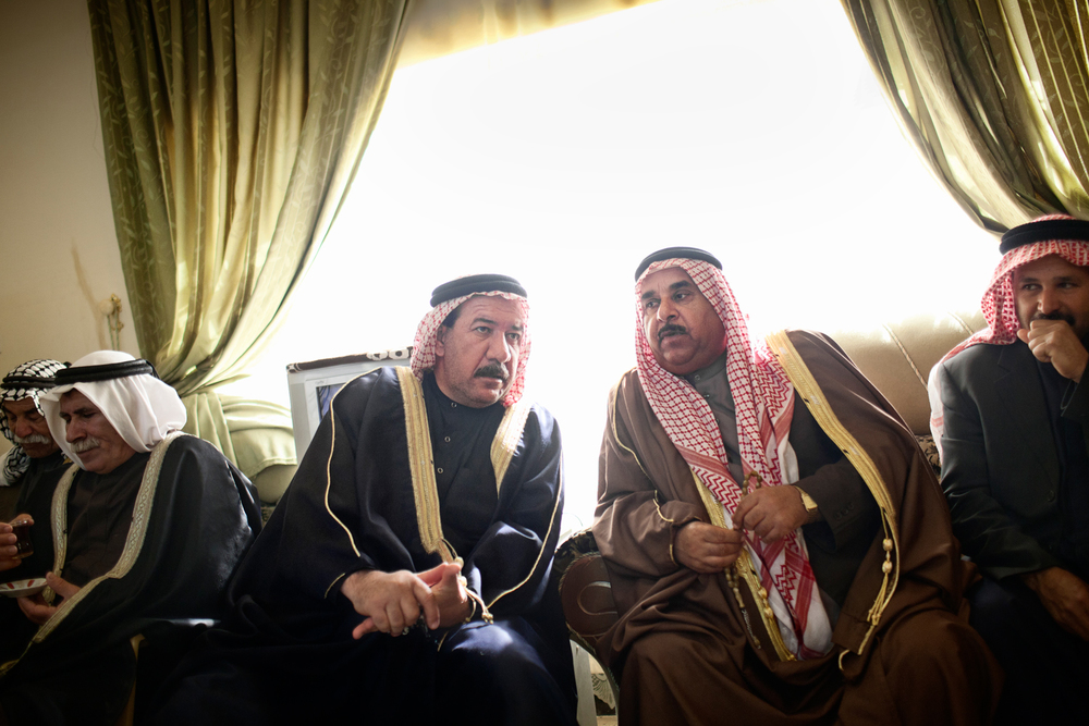Tribal sheikhs meet to discuss village security in Ishaqi, Salah ad Din Governorate, Iraq.