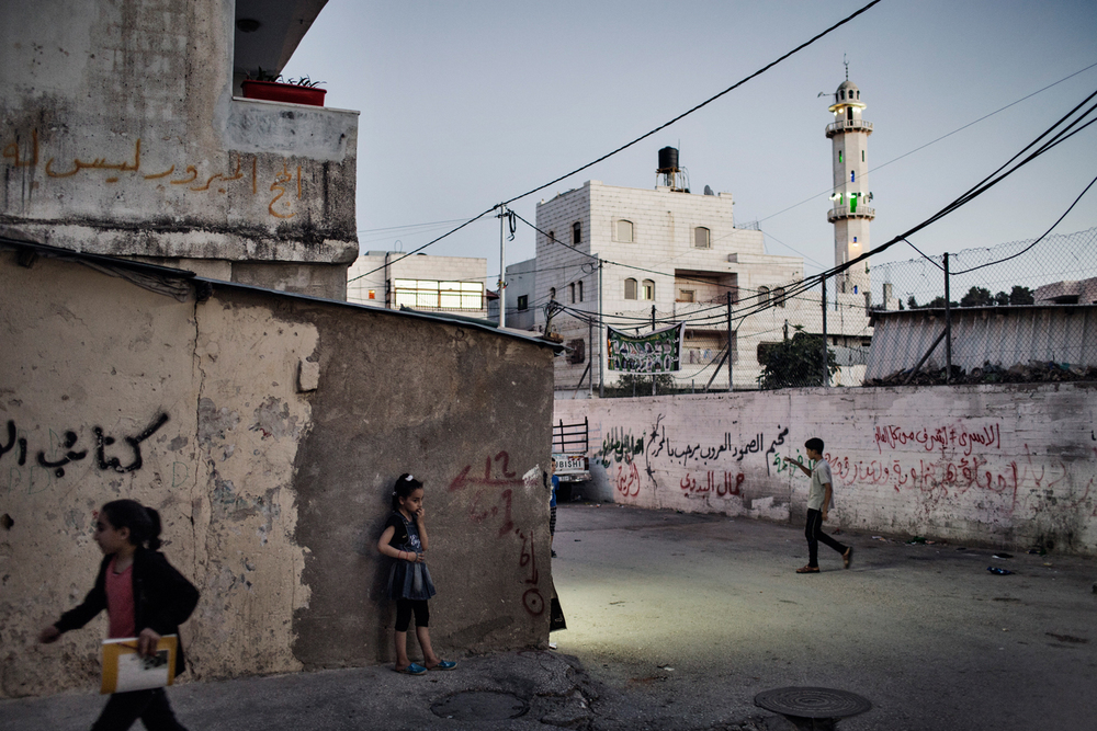 A street scene in Al-Arroub refugee camp in Hebron West Bank, Palestinian Territories.