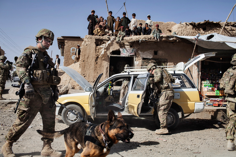 'THE DOGS OF WAR' for National Geographic:  Staff Sergeant Terry Young and Military Working Dog Wero, a German Shepherd search and explosives dog, and Sergeant Adam Serella and Military Working Dog Nero, a German Shepherd patrol and narcotics dog, search cars with 2nd Platoon of the 563rd Military Police Company, U.S. Army in Kandahar City, Afghanistan.