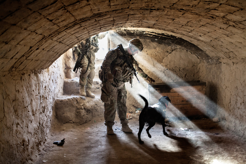 Military Working Dog handler Sergeant Jason Cartwright and his specialised search dog Isaac, a Black Labrador explosives dog, search a building during an operation patrol in Kandahar City, Afghanistan.