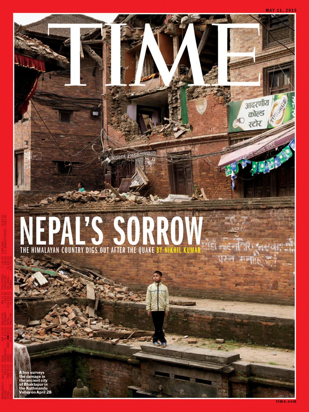 'Nepal's Sorrow',Time Magazine, May 11, 2015. Photo by Adam Ferguson