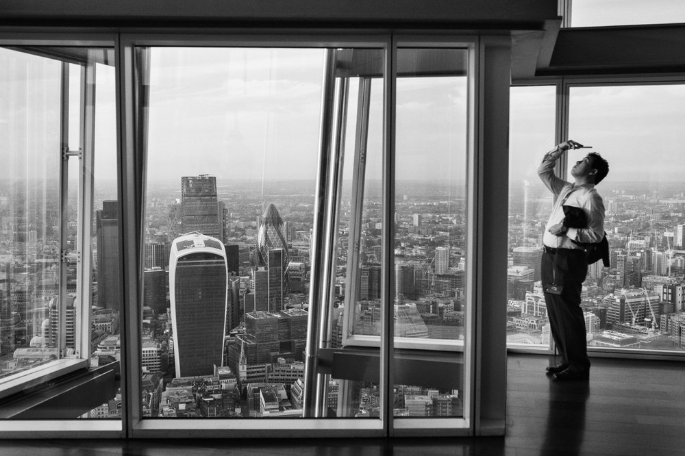 A view of London's financial district from The Shard building in London, United Kingdom, 2016.