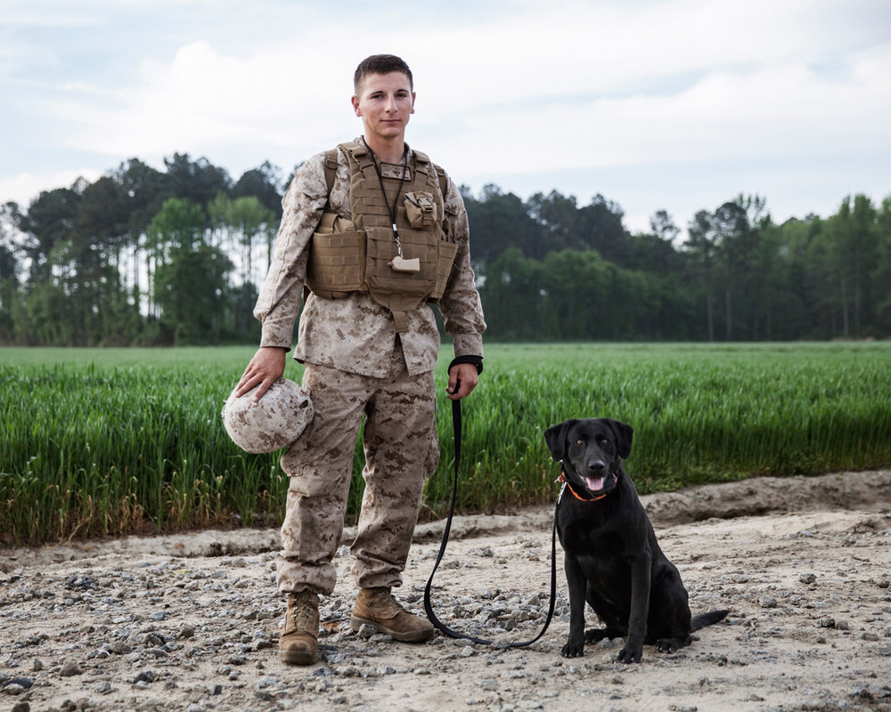 Marine Lance Corporal Cody Rein and Improvised Detection Dog Cruise, K2 Solutions training course in Ellerbe, North Carolina, U.S, 2013.
