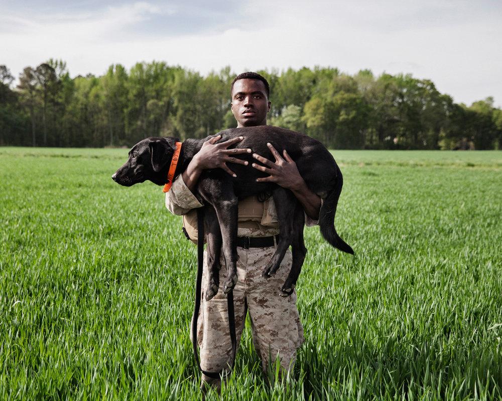 Marine Corporal Dashno Villard and Improvised Detection Dog Bank, K2 Solutions training course in Ellerbe, North Carolina, U.S, 2013.