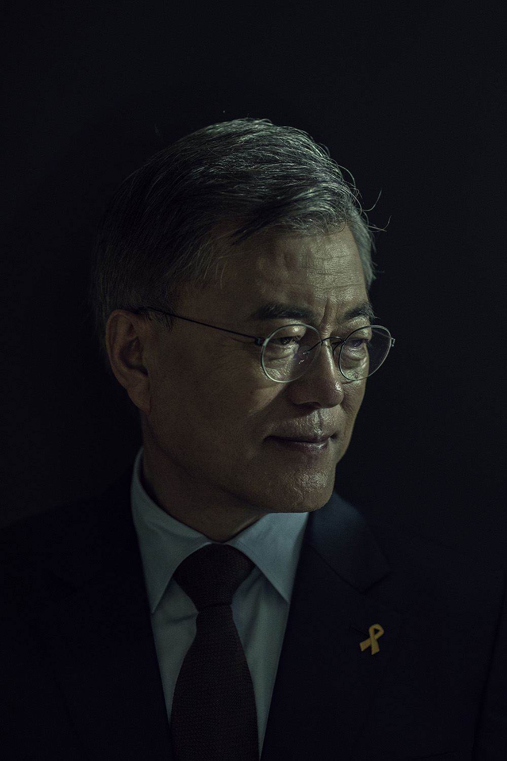 Moon Jae-in, the 2017 presidential nominee of The Democratic Party of Korea, stands for a portrait in Seoul, South Korea on April 15th, 2017. Photo by Adam Ferguson for Time