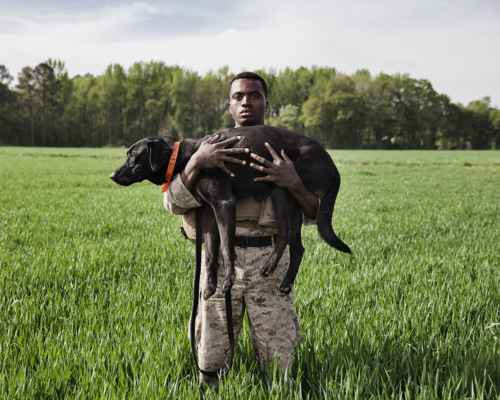 Marine Corporal Dashno Villard and Improvised Detection Dog Bank, for  National Geographic Magazine