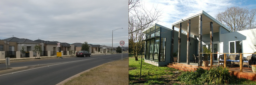 Left, a typical Australian suburban street, the same housing type being replicated all over the country, regardless of climate, topography or history. Right, site specific, climate specific, occupant specific design. Photo courtesy Unicorn Architecture.