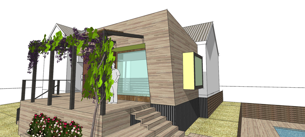 Bachelor Pod: Daylesford addition, splayed walls, outdoor terracing, contemporary lines.