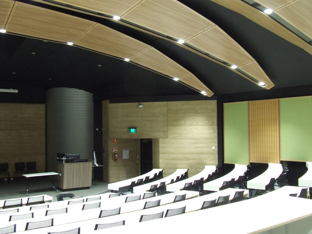 The auditorium with a natural evaporative cooling system.