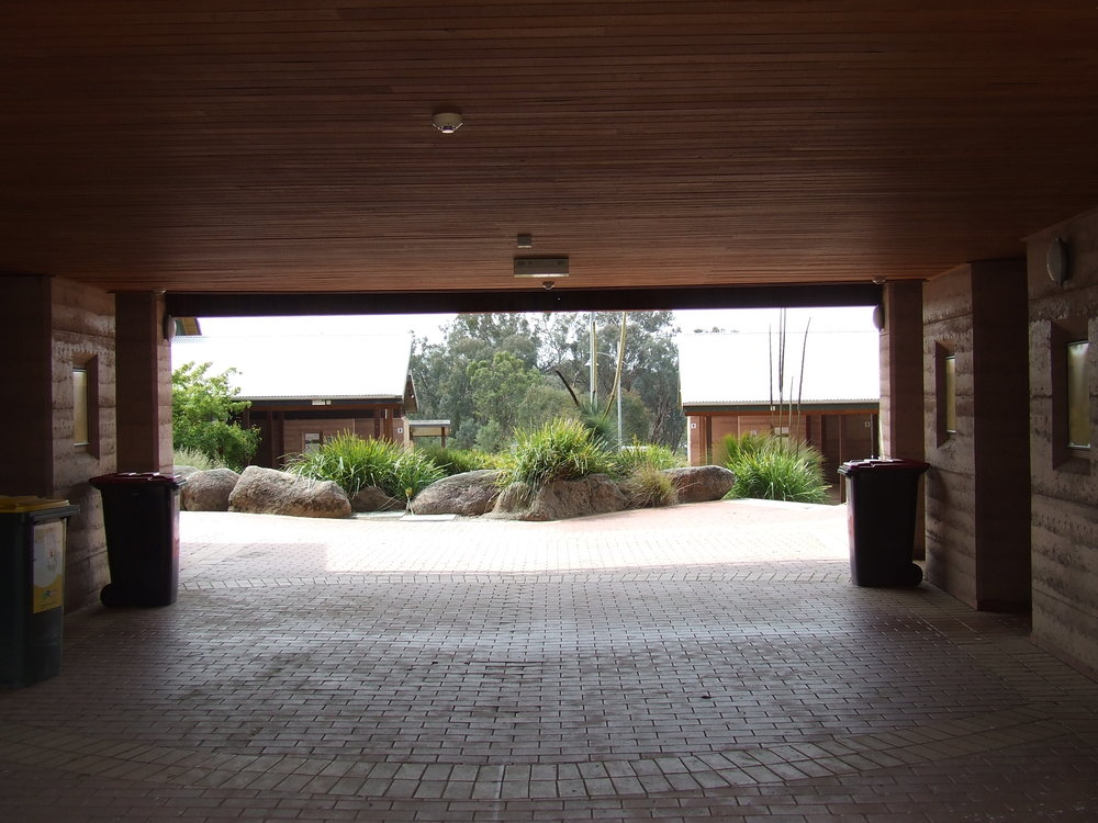 A shaded breezeway.