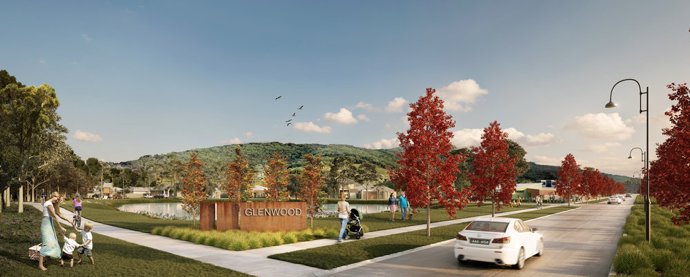 Artists impression of the entrance to the new Glenwood Boulevard estate, with our early learning centre on the right.