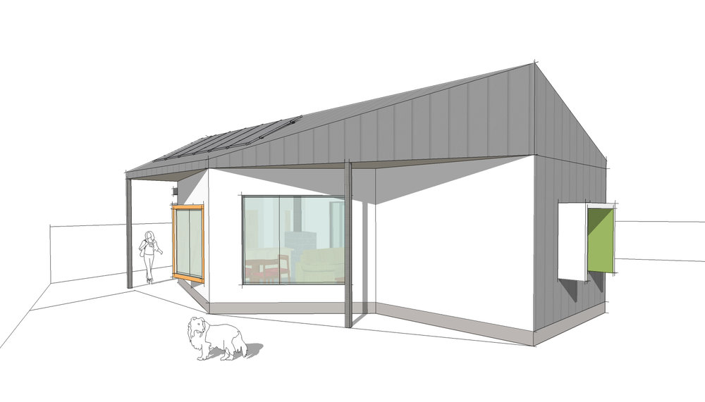 A 65msq single bedroom passive solar house designed by Enduring Domain, now under construction in Beaufort.
