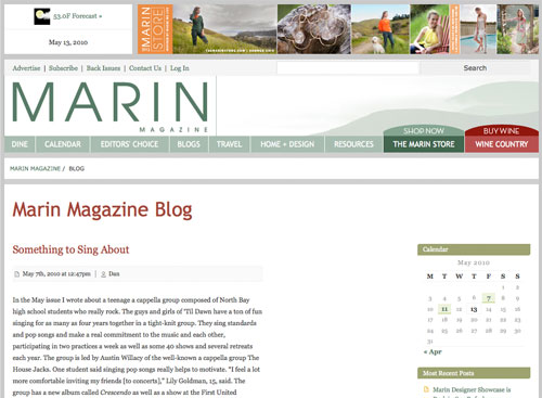 Marin Magazine Staff Blog