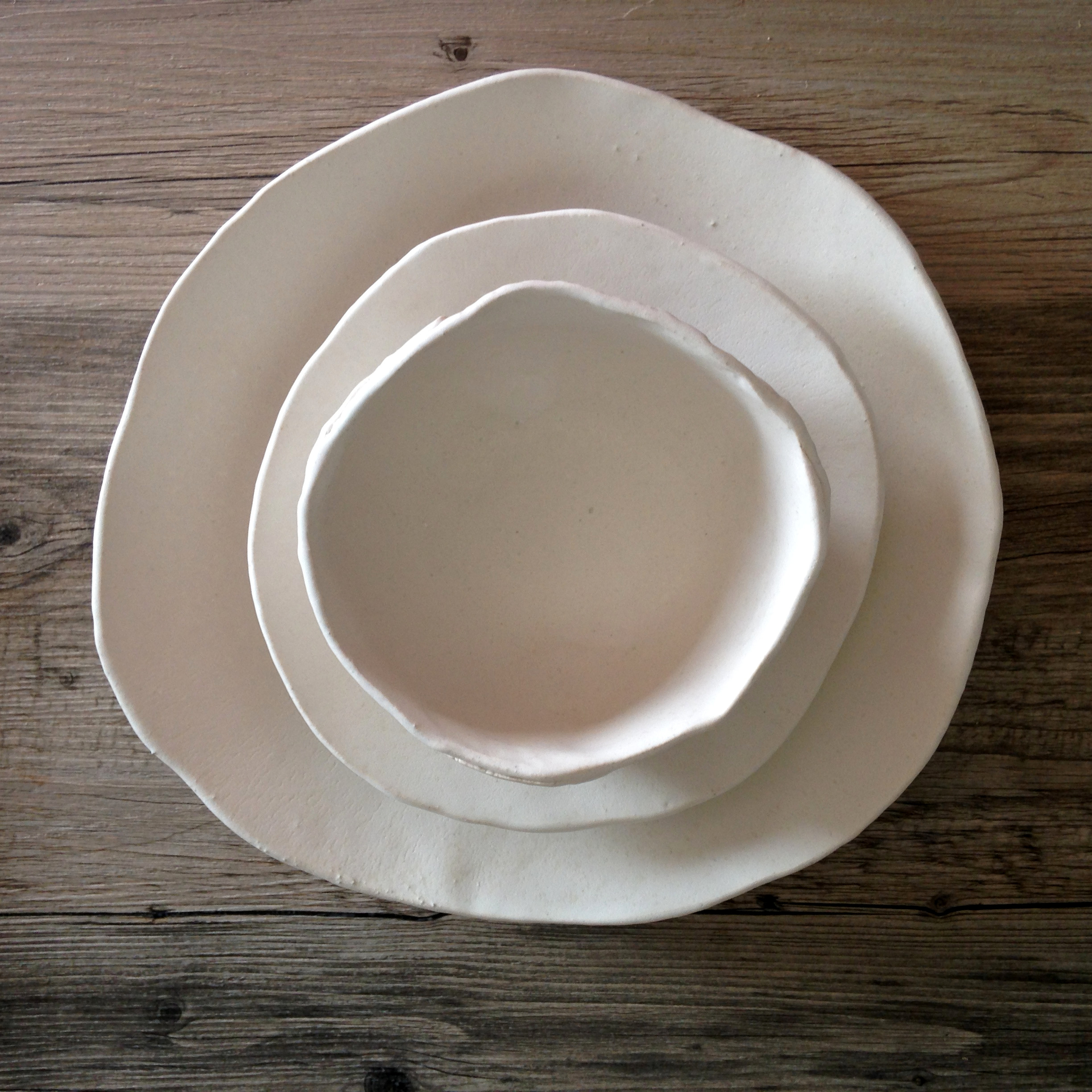 White ceramic plate set - silky white glaze on a white clay body - summer cool ... & Plates