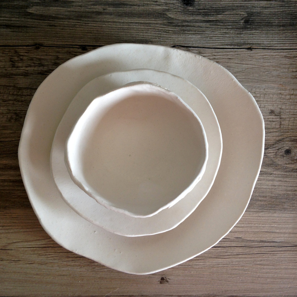 White ceramic plate set - silky white glaze on a white clay body - summer cool and clean and inspired by nature & 22-IMG_4891.JPG?format\u003d500w