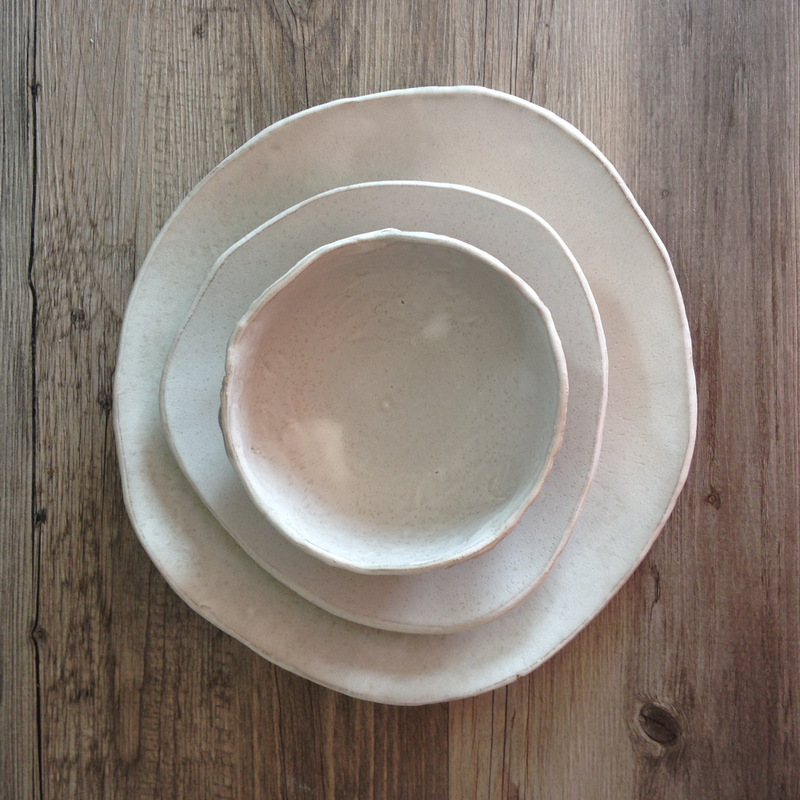 White ceramic plate set of 3 - Silky wite glaze in a red clay body - & Handmade Dinnerware Sets | Blue Door Ceramics