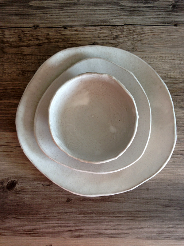 White ceramic plate set of 3 - Silky wite glaze in a red clay body - summer cool dinnerware & 107-IMG_5015.JPG?formatu003d500w