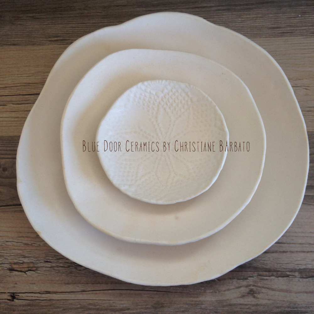 This was the Best Seller this summer. White silky glaze on a white clay. Very fresh, clean, natural looking plates. A perfect white canvas for the creative chef in you!