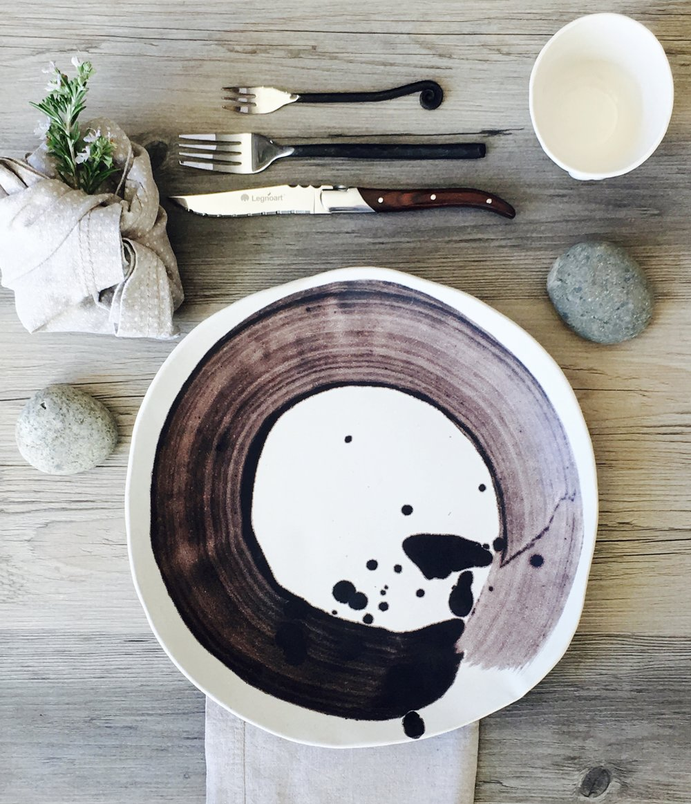 Ceramic dinner plates Zen circle of life - set of 4 - silky white glaze on a white clay body - summer cool and clean and inspired by nature & IMG_5620.jpg?format\u003d500w