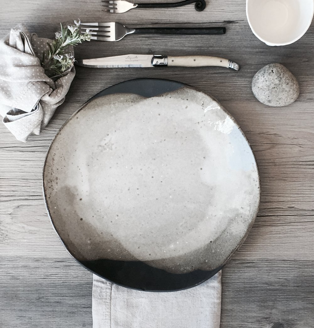 Modern and Chic ceramic dinner plates - set of 4 - silky white glaze on a black clay body - summer cool and clean and inspired by nature & IMG_5632.jpg?format\u003d500w