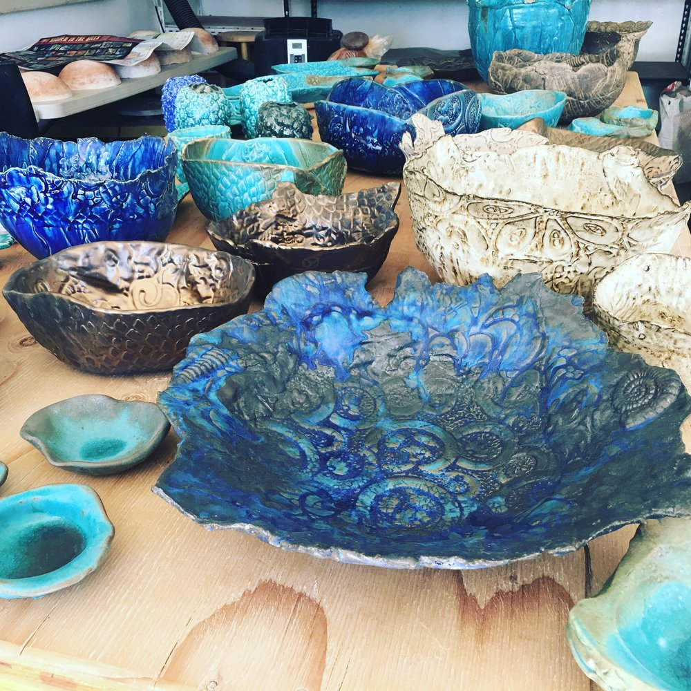 Some bowls getting ready for the art show