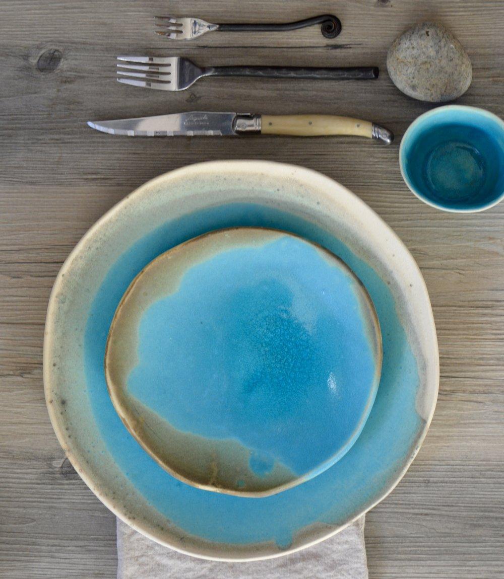 Ceramic dinner set in aqua - dinnerware set - turquoise plates & DSC_0039.jpg?formatu003d500w