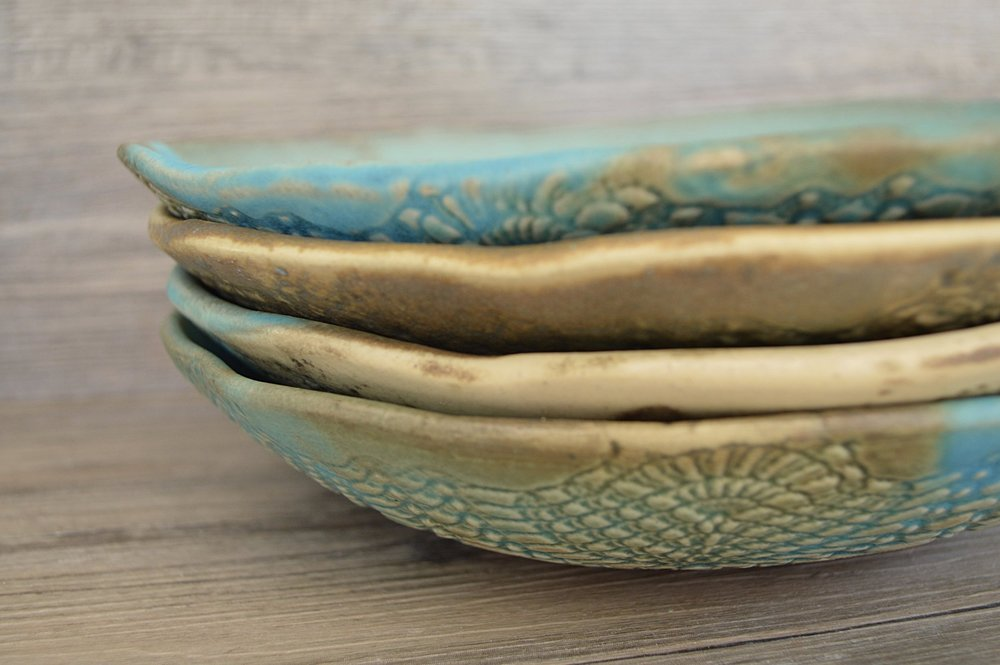 Turquoise pasta bowls