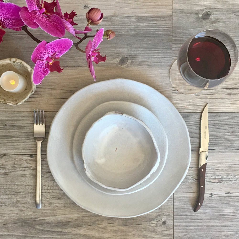 White ceramic plate set - silky white glaze on a white clay body - summer cool and clean and inspired by nature & IMG_0362.jpg?format\u003d500w