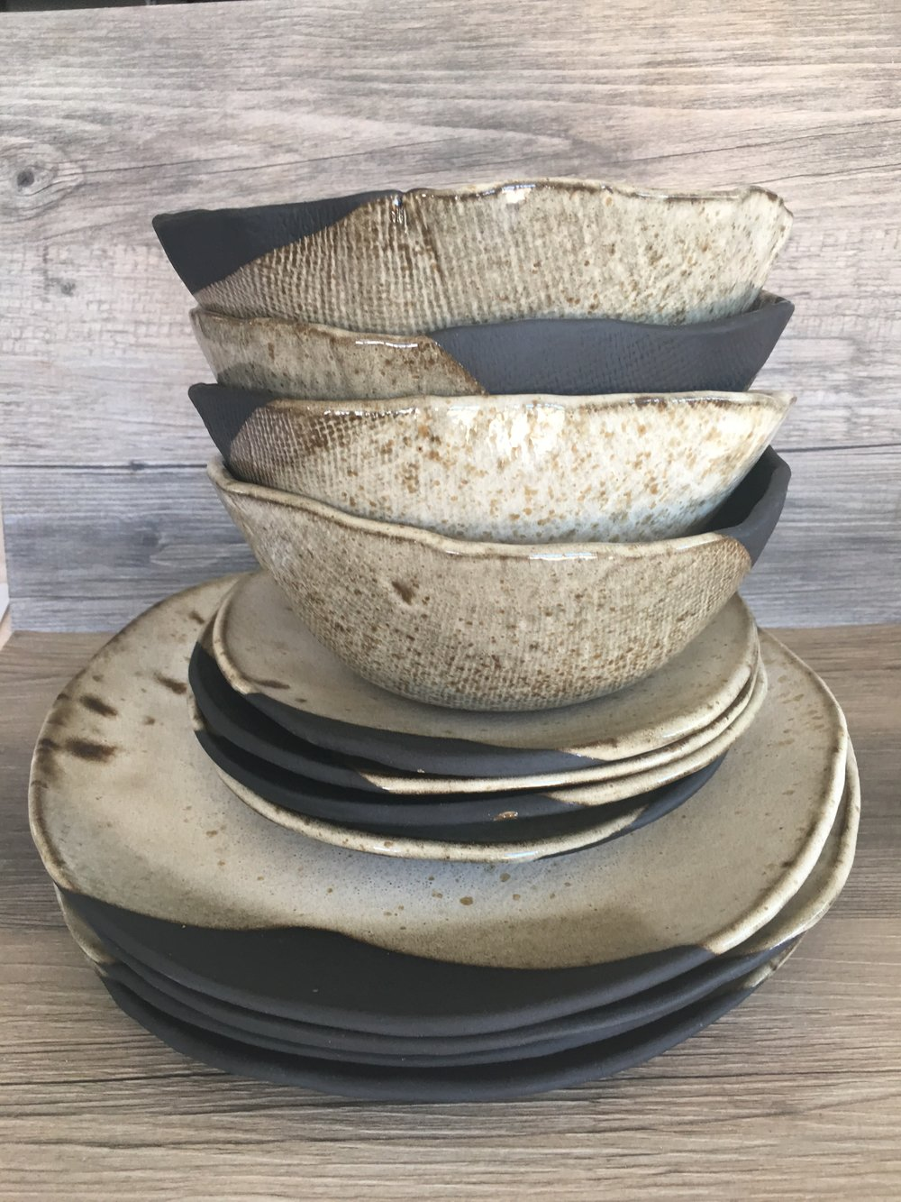 Ceramic dinner plates Dinnerware set Modern and Chic ceramic dinner plates - set of 4 - silky white glaze on a black clay body - summer cool and clean and ... & IMG_0870.JPG?format\u003d500w
