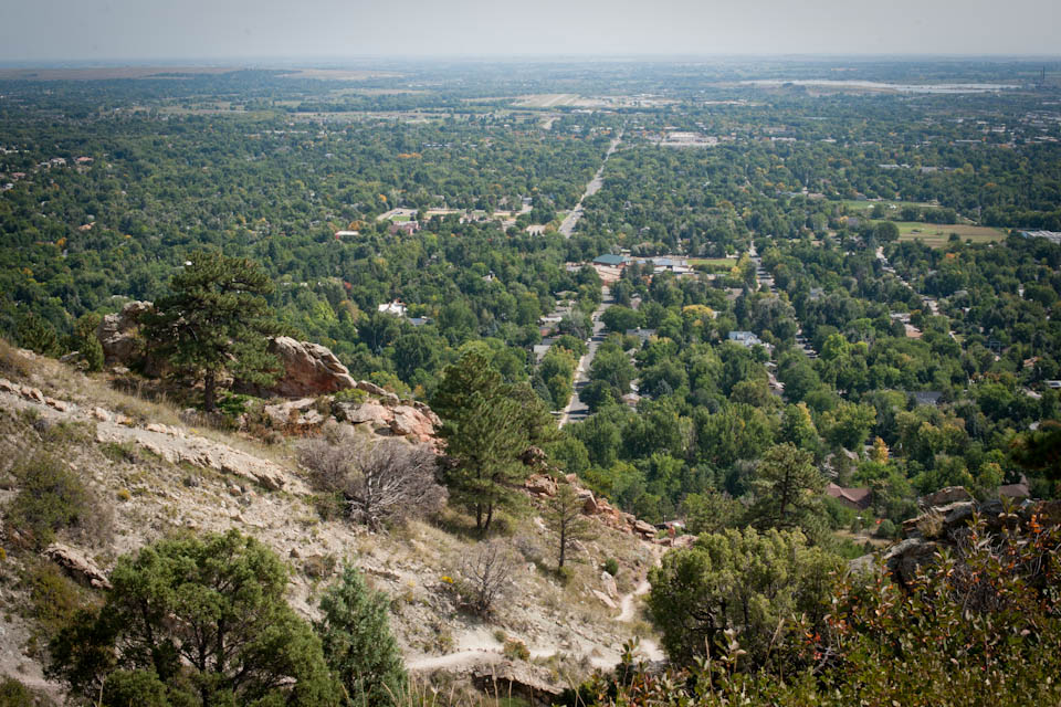 A view of Boulder from near the top of Mt. Sanitas