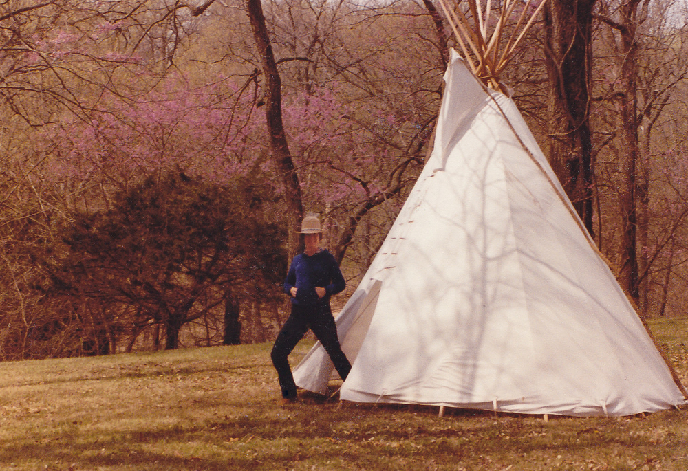 My mom, Sara Varney, in rural Oklahoma with the tipi her father built, circa 1980. This was one of her favorite places in the world.