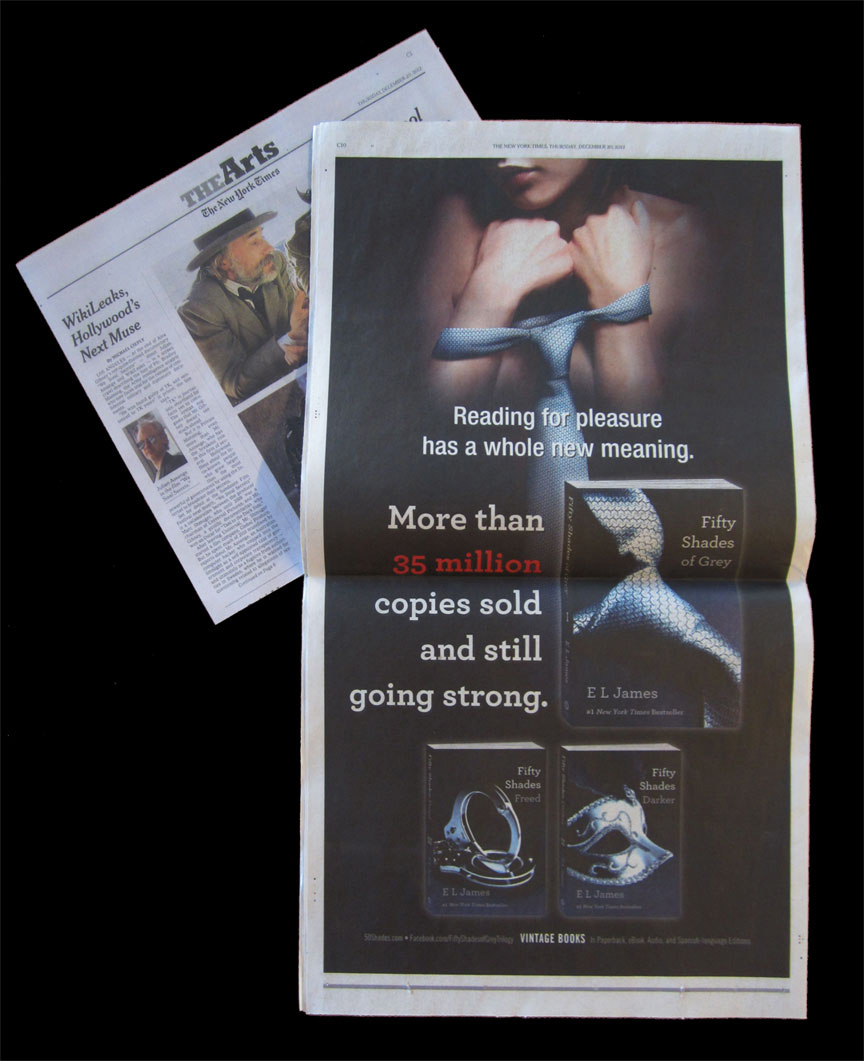 New York Times  full page ad, back of The Arts section