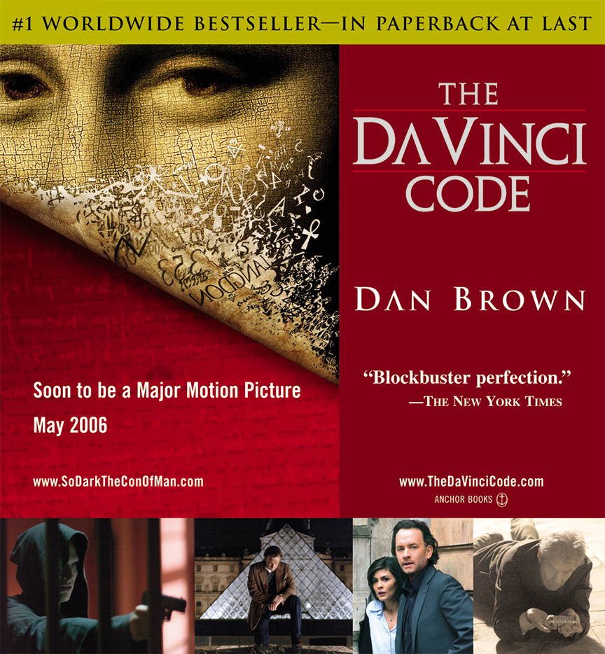 Many of the books I've worked on were turned into feature films. This is the ad campaign I art directed and designed for the movie-tie in for Dan Brown's The Da Vinci Code, an American mystery-thriller film directed by Ron Howard. I worked directly with Sony Pictures in addition to Penguin Random House. This design translated into social media ads, out-of-home national advertising (airport displays, phone kiosks, posters, and risers).