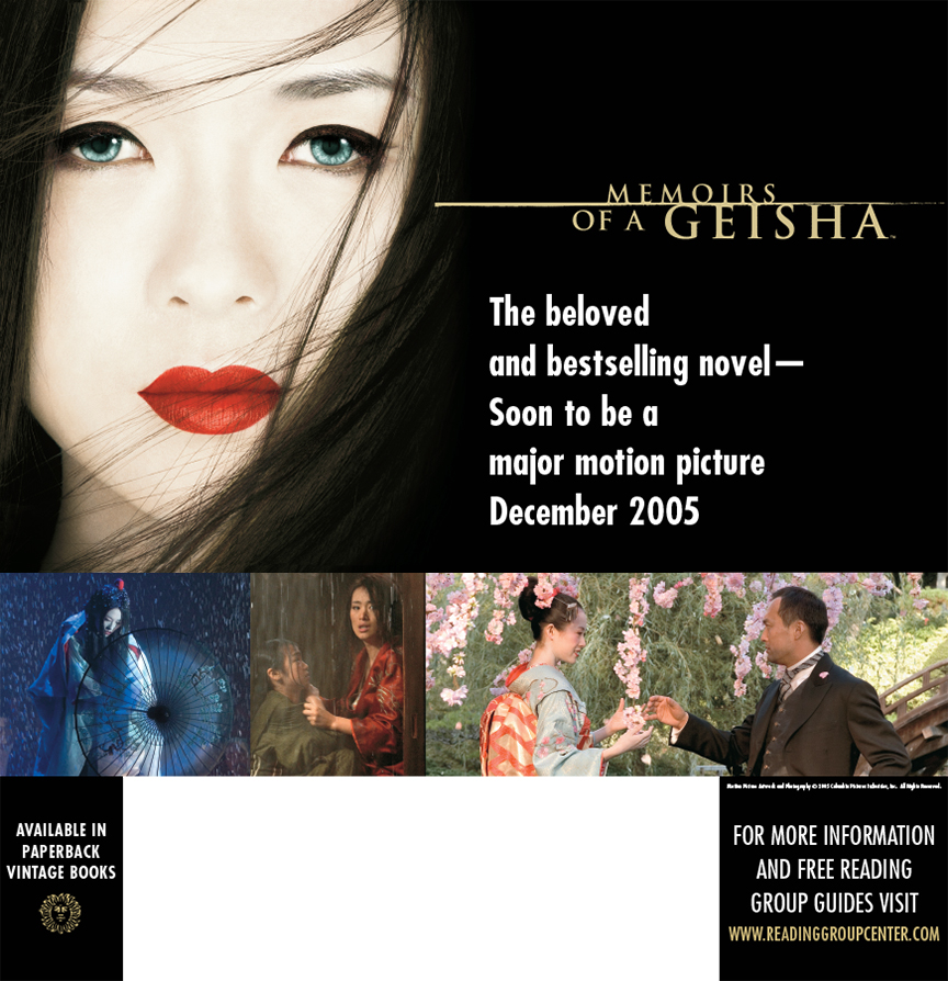 Memoirs of a Geisha, an epic film adaptation of the bestselling novel released by Columbia Pictures and produced bySteven Spielberg, also turned into online ads including a sweepstakes campaign.