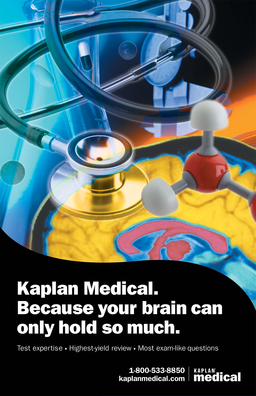 Kaplan Medical advertising campaign. This design was also translated into online Flash ads, trade show vinyl banner displays used at medical conferences throughout the US, in addition to t-shirts, postcards and posters.