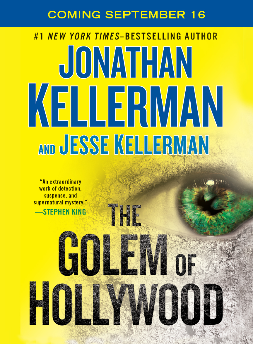 Ad campaign for Jonathan Kellerman's The Golem of Hollywood.