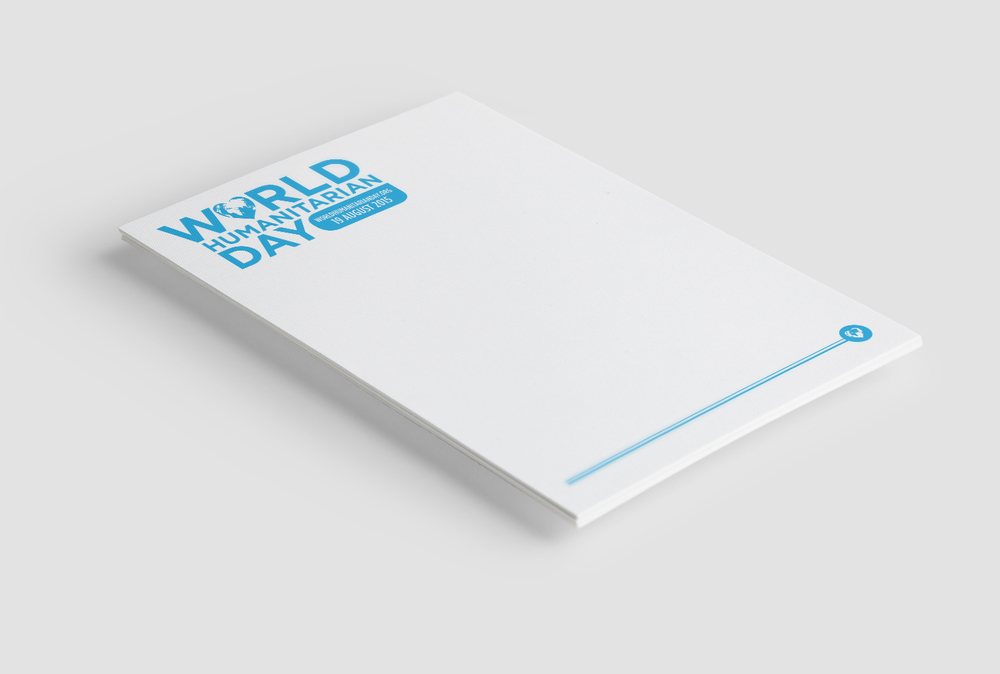 Identity design for the UN internal branding of World Humanitarian Day. World Humanitarian Day (WHD) is held every year on 19 August to pay tribute to aid workers who risk their lives in humanitarian service, and to mobilize people to advocate for a more humane world. The day was designated by the General Assembly to coincide with the anniversary of the 2003 bombing of the United Nations headquarters in Baghdad, Iraq. Logo which was used on the website, digital presentations, email signatures, and letterheads.