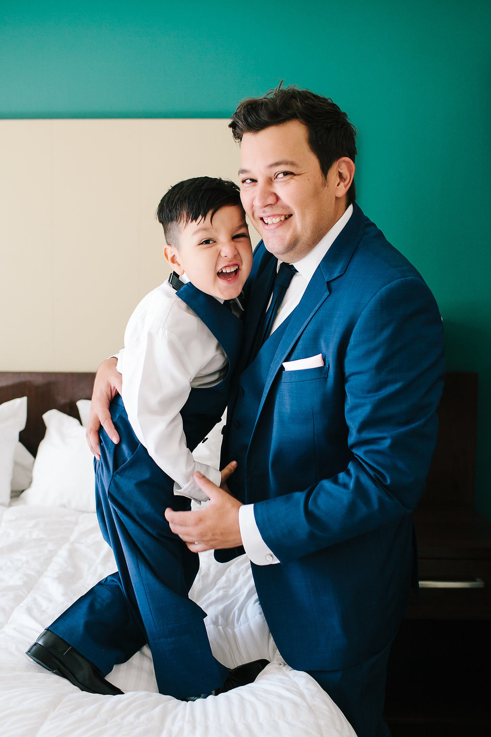 Meanwhile, Joshua got ready with our little man! Suits by Friar Tux