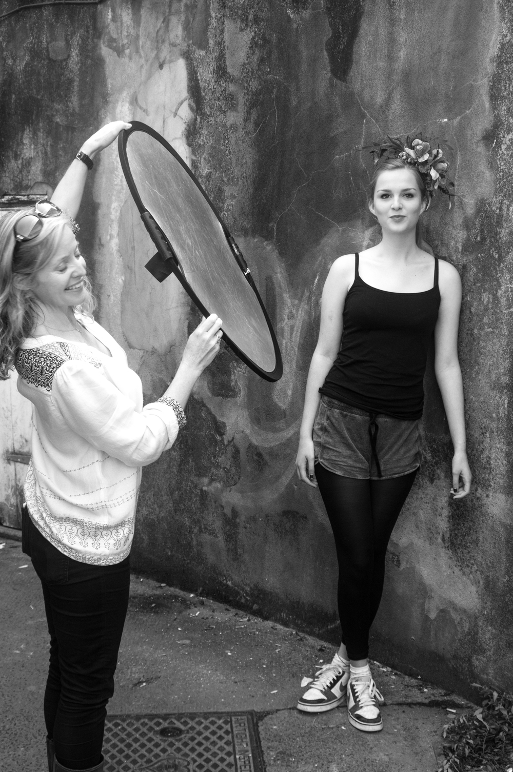 Rachel Skinner on photoshoot for Lomax and Skinner
