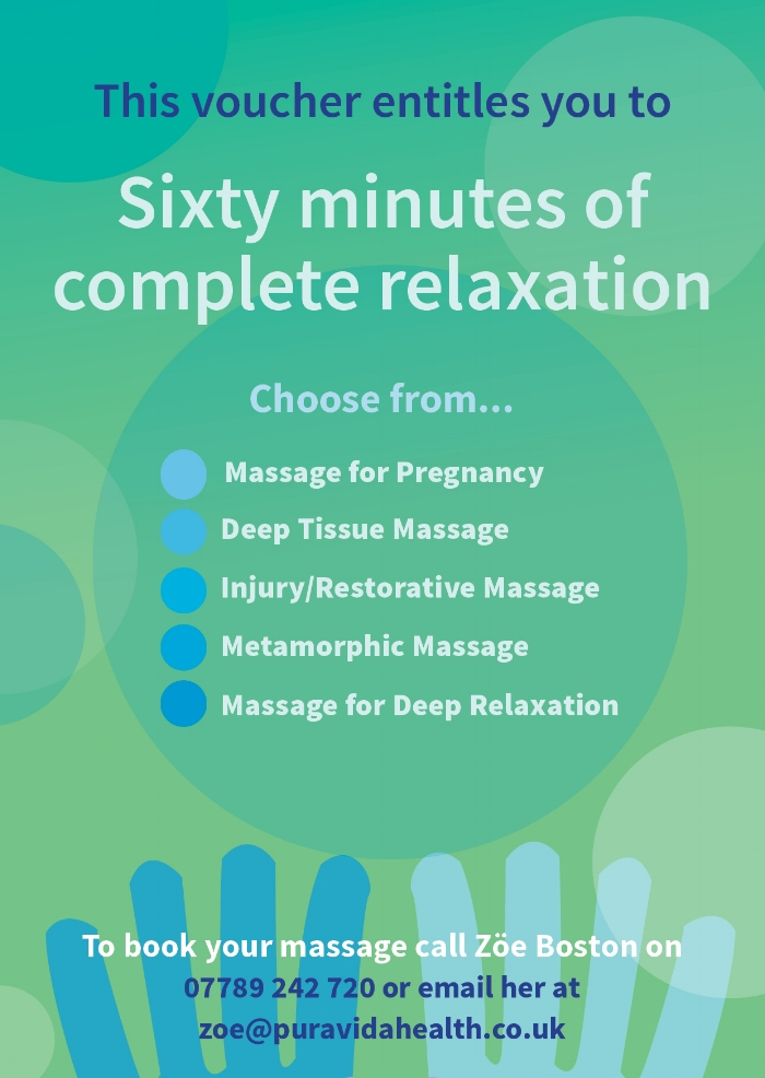 Flyer advertising massage therapy
